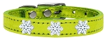 Snowflake Widget Genuine Metallic Leather Dog Collar Lime Green 12